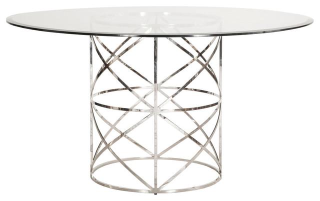 X-Motif Dining Table Base, Nickel.