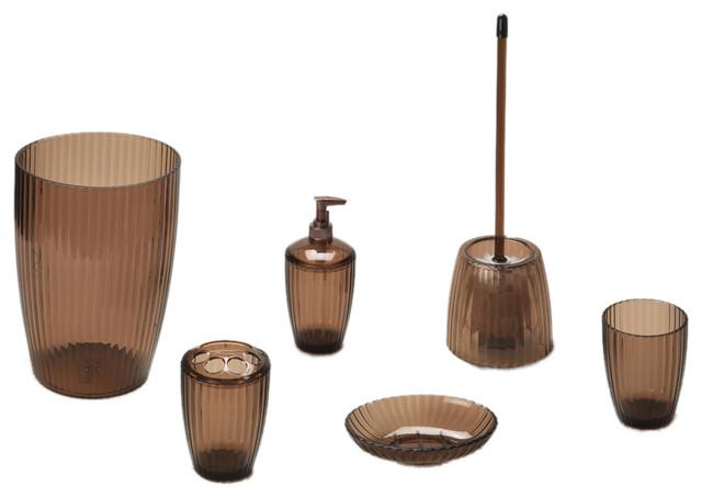 Brown Bathroom Accessories Sets : American crafts piece acrylic bath accessory set