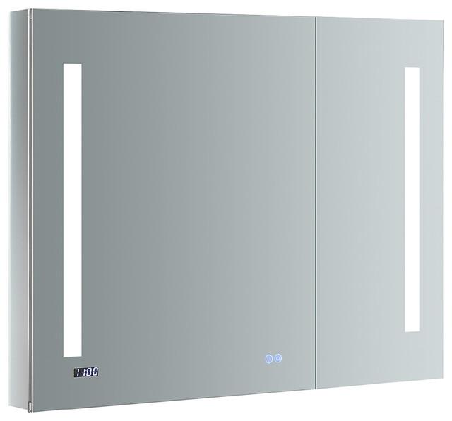 """Fresca Tiempo Bathroom Medicine Cabinet With Led Lighting, 36""""x30""""."""