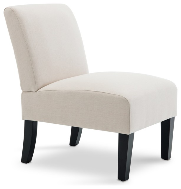 BELLEZE Armless Single Curved Slipper Accent Chair, Beige
