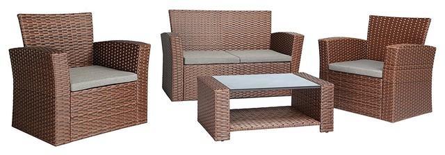 Fabulous 4 Piece Outdoor Furniture Cushion Wicker P E Rattan Garden Set Brown Home Interior And Landscaping Ologienasavecom