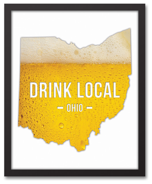 Ohio Drink Local Beer Wall Art, Framed Canvas.