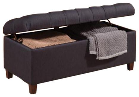 Good Tufted Storage Ottoman Bench, Navy Blue Fabric