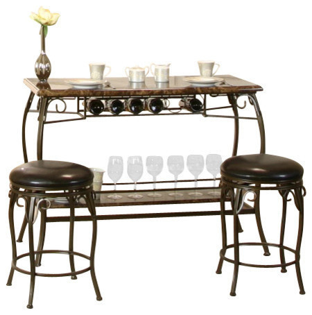 Tiffany Bar With Built In Wine Rack And Two Stools Indoor Pub Bistro Sets By Sunset Trading