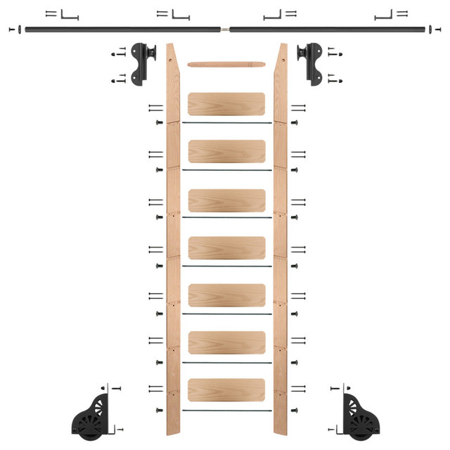 Rolling 8&x27; Red Oak Ladder Kit, Black, With 8&x27; Total Railing.