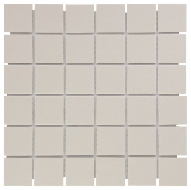 "12.16""x12.16"" Unglazed Porcelain Mosaic London Square Cream White, Set of 10"