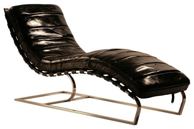 Leather Chaise With Iron - Midcentury - Indoor Chaise Lounge ...