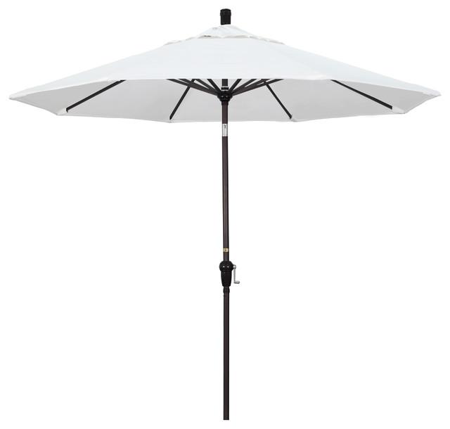 9&x27; Aluminum Market Umbrella Auto Tilt Bronze, Olefin, White.