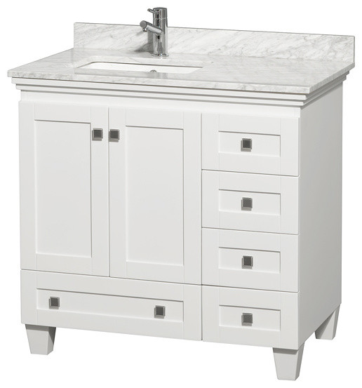 "36"" Acclaim Single Vanity With White Carrera Marble Top, Square Sink, No Mirror - Transitional ..."