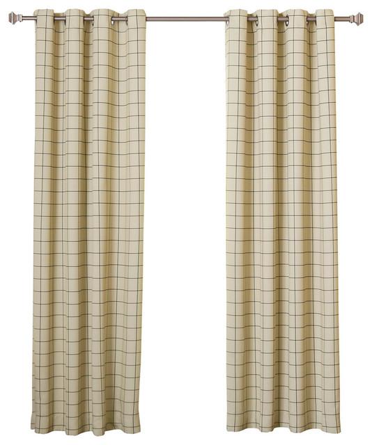 "Plaid 2-Tone Plaid Curtains, Pair, Biscuit Black, 84"""