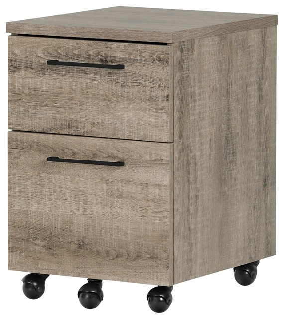 South Shore Munich 2 Drawer Mobile File Cabinet, Weathered Oak.