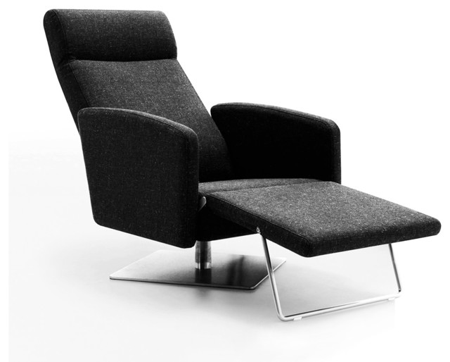 Lounge Chair Furniture abbot modern fabric reclining lounge chair - indoor chaise lounge
