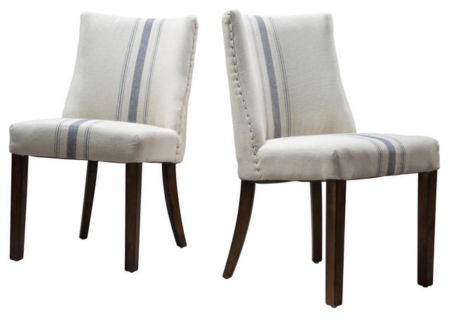 Excellent Gdf Studio Rydel Fabric Dining Chairs Blue Stripe Set Of 2 Inzonedesignstudio Interior Chair Design Inzonedesignstudiocom