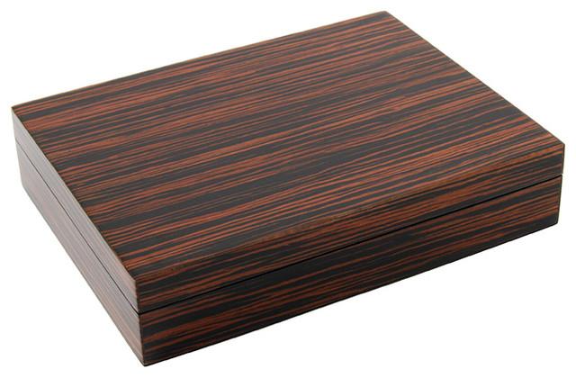 Lacquer Long Stationery Box Box, Macassar Ebony