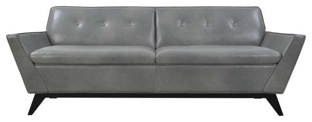 Full Leather Mid-Century Sofa, Cloud.