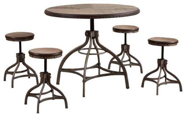 5 Piece Round Adjustable Counter Height Table Set Bronze