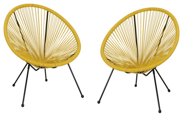 Major Outdoor Hammock Weave Chair With Steel Frame, Set of 2, Yellow, Black