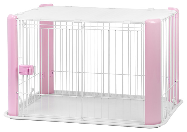 Small Wire Pet Play Pen With Roof, Pink Contemporary Dog Kennels And