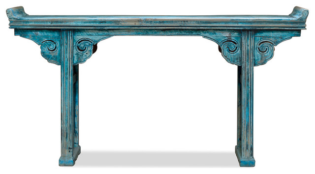 Beau Consigned Chinese Vintage Altar Style Console Table, Aqua Blue