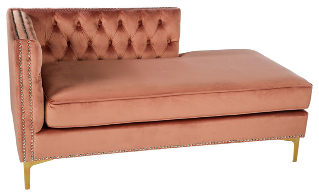 Harper Tufted Chaise, Rose