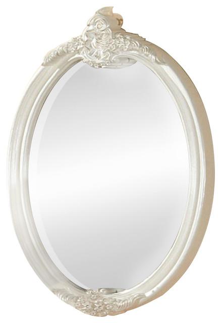 Alexandra Transitional Mirror, Pearl White.