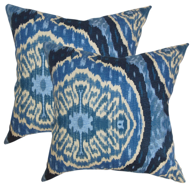 Iovenali Ikat Throw Pillows, Blue, Set Of 2.