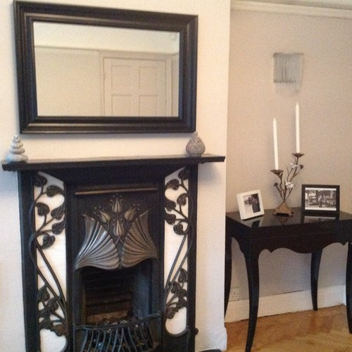 Antique Mirror Over Fireplace Mantel