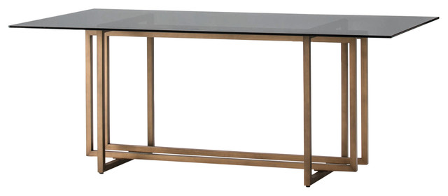 Rectangular Smoked Glass Dining Table With Bronze Frame