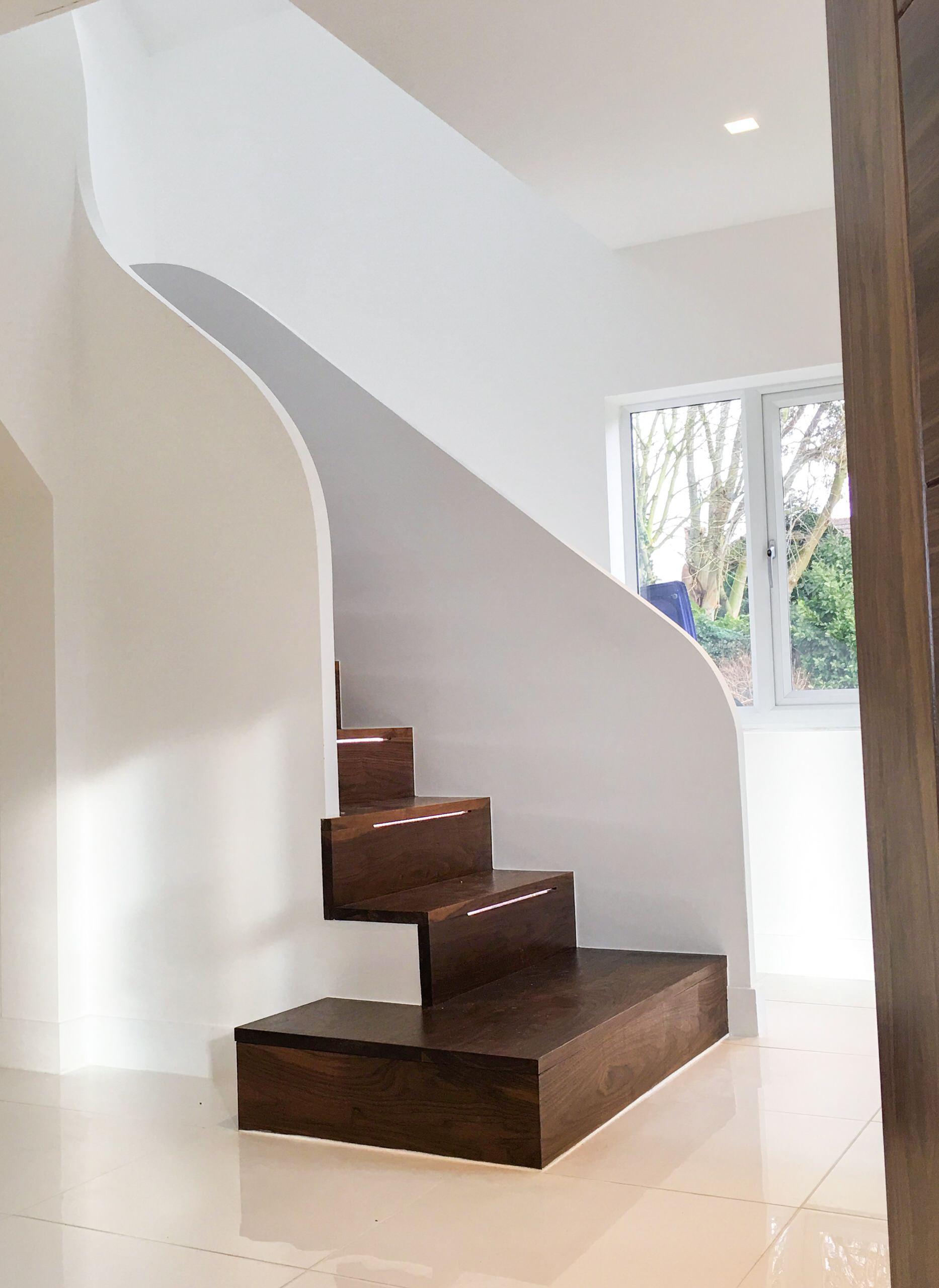 Walnut Staircase - Entrance Lobby