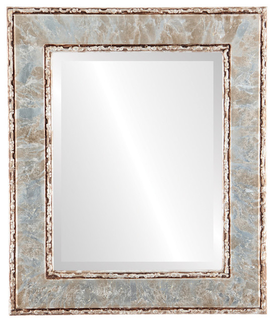 """Paris Framed Rectangle Mirror In Champagne Silver, 27""""x33""""."""
