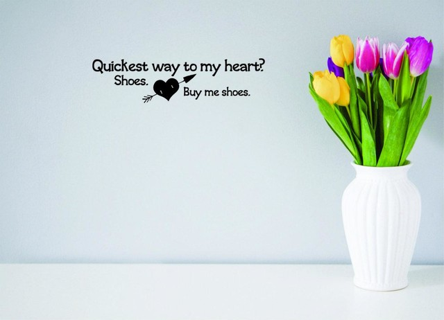 Quickest Way To My Heart Shoes Buy Me Shoes Quote Decal 16x40