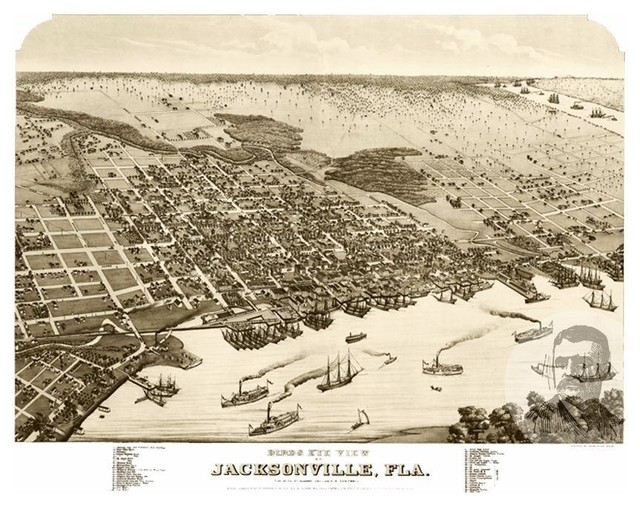 Florida Map Jacksonville.Historic Jacksonville Fl Map 1876 Vintage Florida Art Print Decor