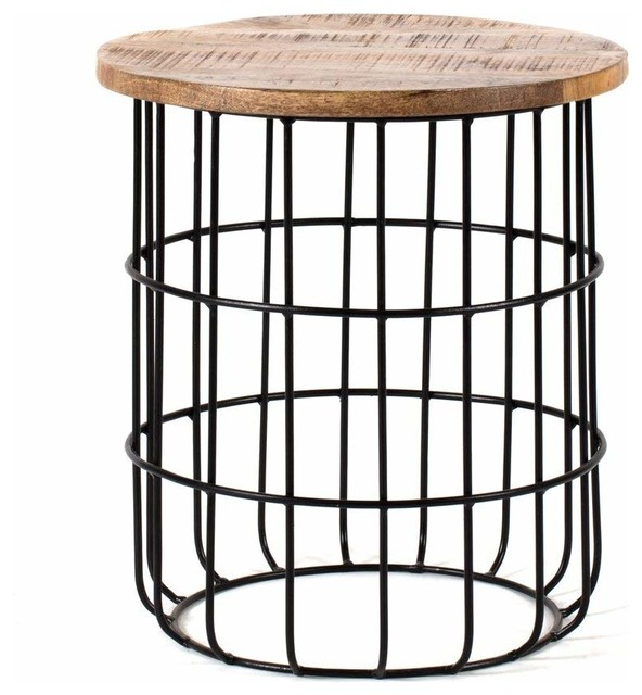 Wire Frame Coffee Table.Contemporary Side End Table With Black Metal Wire Frame And Mango Wood Top