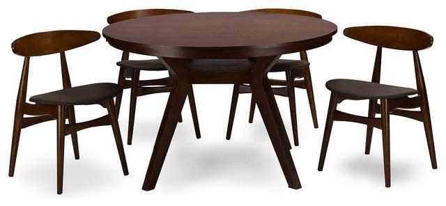Flamingo Mid-Century Dark Walnut Wood 5-Piece Dining Set.