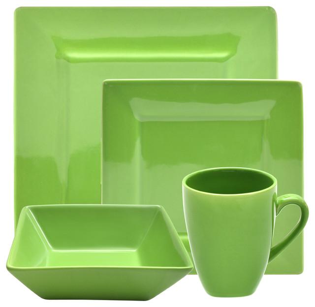 Nova 16-Piece Square Dinner Set - Contemporary - Dinnerware Sets ...