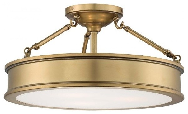 Minka-Lavery Harbour Point Drum Shade Semi-Flush Mount, Liberty Gold.