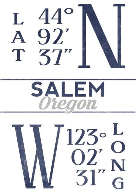 Quot Salem Oregon Latitude And Longitude Blue Quot Print