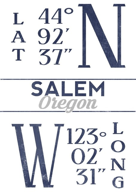 Quot Salem Oregon Latitude And Longitude Blue Quot Print