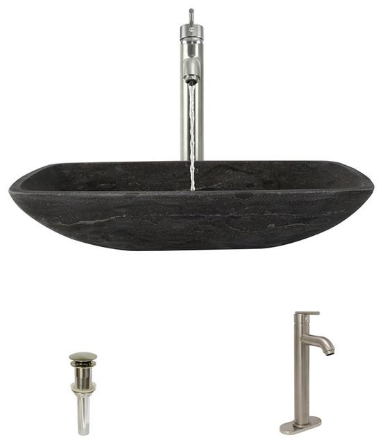 Limestone Vessel Sink, Brushed Nickel, Vessel Faucet