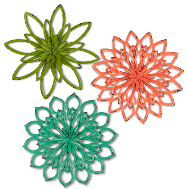 Metal Flower Wall Art, Set Of 3.