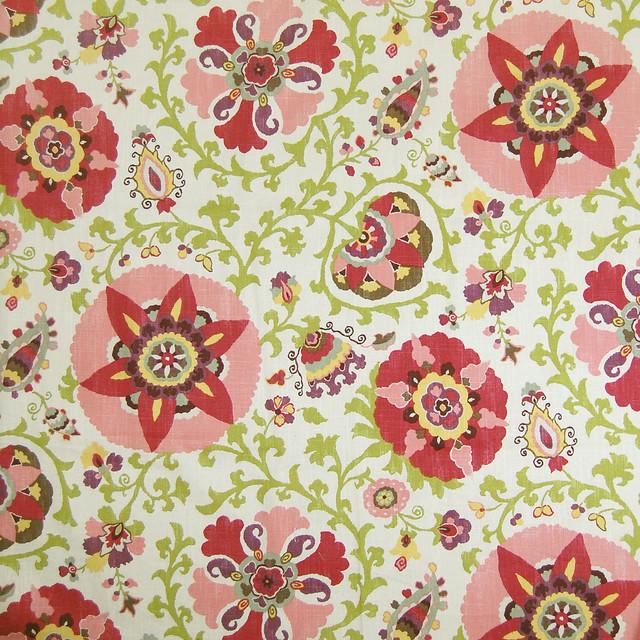 Cherry Blossom Green Purple Floral Suzani Ikat Linen Made