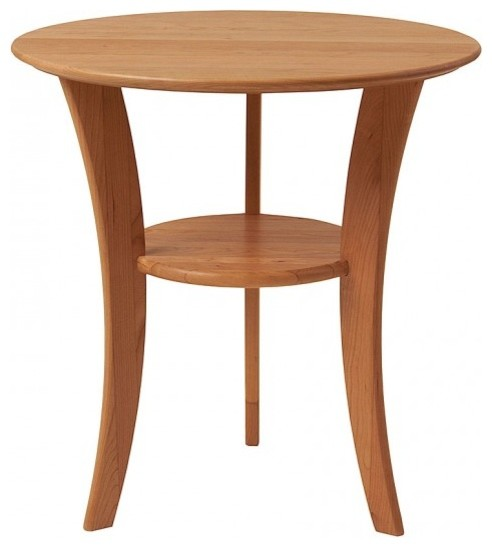 Attractive Round Cherry End Table, Natural Cherry Side Tables And End Tables
