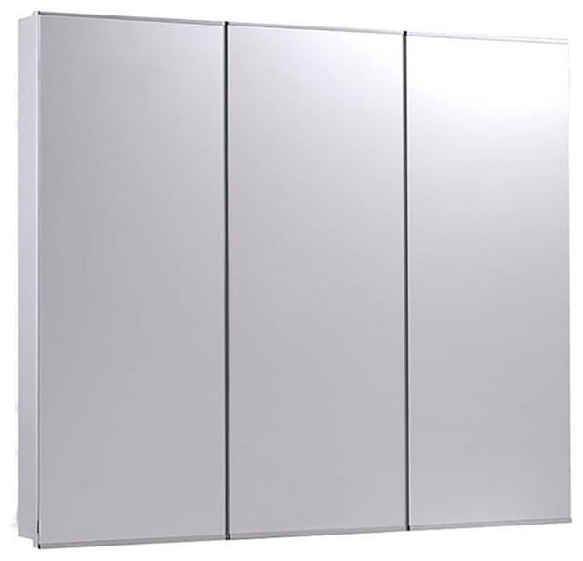 "Tri-View Series Medicine Cabinet, 36""x36"", Bright Annealed Stainless Steel Trim"