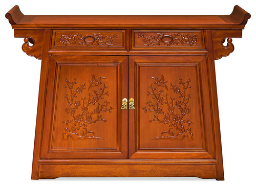 Rosewood Flower and Birds Motif Altar Style Cabinet