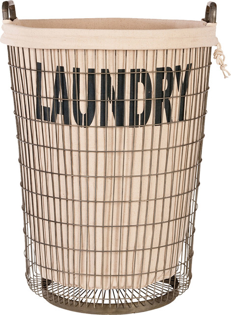 Laundry Baskets, Set Of 2, Metal, Light Linen.