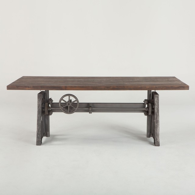 83 L Dining Table Industrial Crank Solid Iron Weathered Wood Old Teak Top