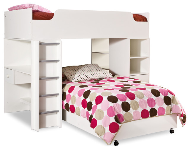 South Shore Logik Twin Loft Bed In Pure White.