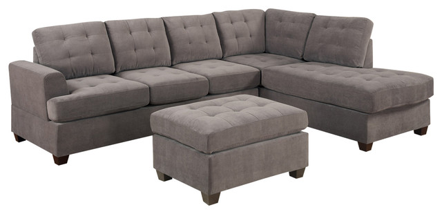 Reversible Gray Charcoal Sectional Sofa Couch Chaise And Ottoman 3 Piece Set
