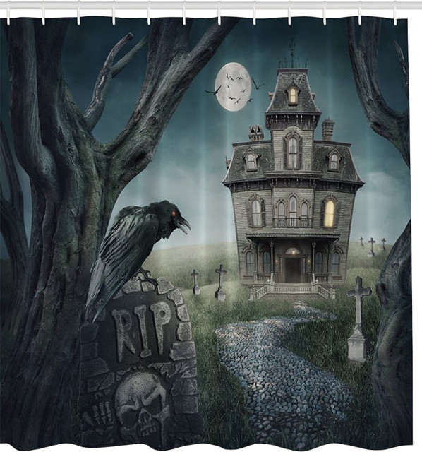 Spooky Raven Haunted House Fabric Shower Curtain