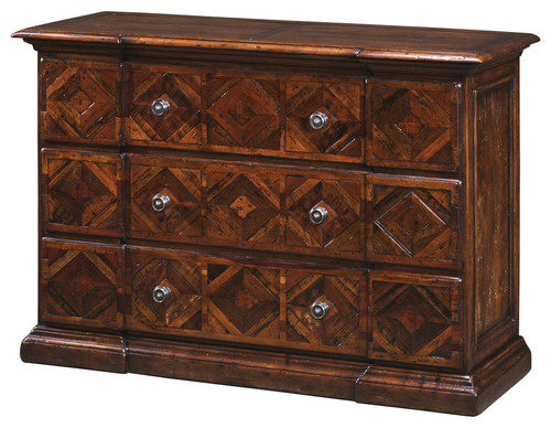 Italian Antiqued Wood Parquetry Chest of Drawers